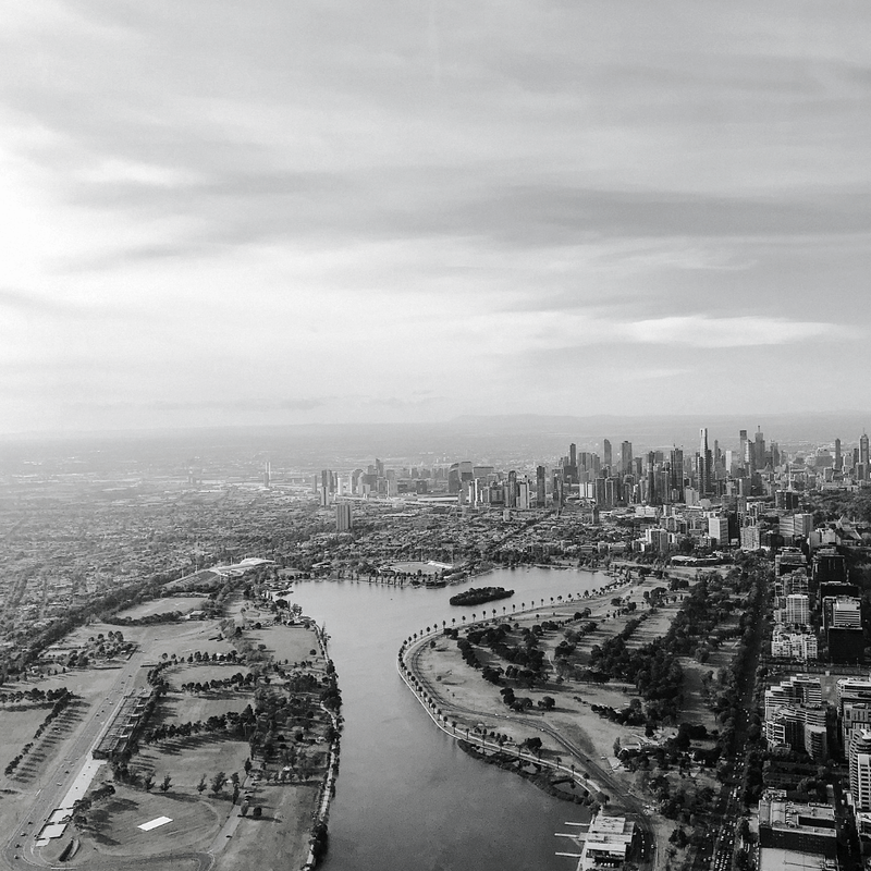 aerial view of the melbourne skyline